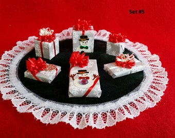 Miniature Presents 1/12th Dollhouse Scale with Bows for Holiday Decorating