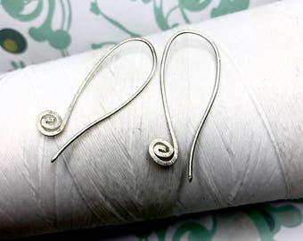 Sterling Silver - Long Swirls / silver hoop earrings / 925 sterling earrings /silver jewelry / gold earrings / hoop earrings / silver hoops