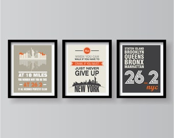 New York Marathon Poster Set, Marathon Poster, Running Poster, Marathon, New York, Runner Poster, Motivational Sport Poster, Running print