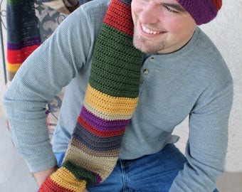 Doctor Who Scarf Style Long Stocking Cap Crochet