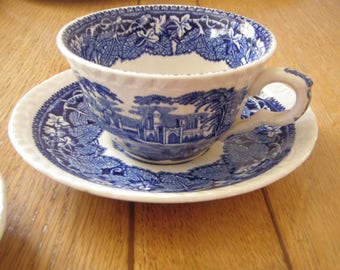 English Vintage Mason's Cup and Saucers Flow Blue Vista Pattern