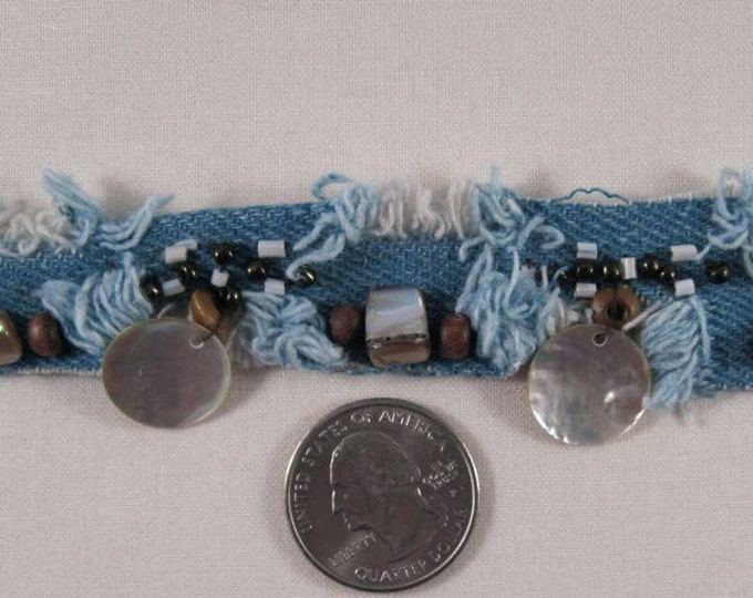 """Blue DENIM TRIM with Beads and Shells - 1.5"""" Sewing Trim by the yard - Very Unique"""
