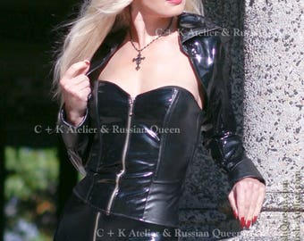C + K PVC corsage, leather corsage, PVC and leather combined, with front zipper, very shiny and strechy, new, handmade