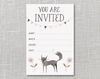 Little Black Fox Party Invitation Printable Instant Download PDF