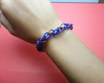 New Handmade Rainbow Loom Bracelet Blue & Fuschia