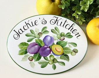 Olives Plums kitchen wall sign, kitchen door sign, wall fruits decor, kitchen wall decoration, housewarming gift, cook gift