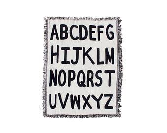Alphabet Mini Throw Blanket - Black and White Cotton Blanket - Kids Room Decor - Baby Blanket - Baby Shower - ABC Nursery Art Pattern