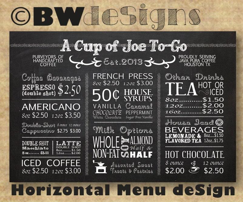 Unique Custom HORIZONTAL MENU Board Coffee Shop Sign Restaurant ZH55