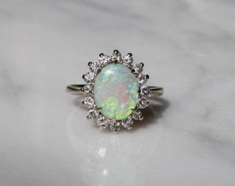 Reserved for shelby- ANTIQUE DIAMOND OPAL vintage antique circa 1940s Art Deco Midcentury retro 14k gold engagement halo ring size 5.5