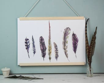 Large Wild Golden Feather Watercolour and Ink Fine Art Illustrated Print