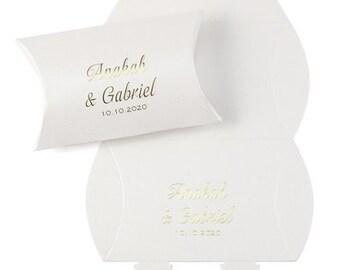 Elegant White Shimmer Wedding Favor Boxes