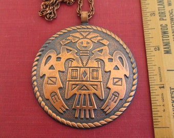 "Large Copper Pendant Necklace - Vintage Southwestern Kachina, 24"" Chain"
