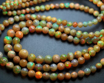 45 Carats,16 Inches,Super Finest,Natural ETHIOPIAN Opal Faceted Round Rondelles Super Flashy Strand, Size 4-7mm