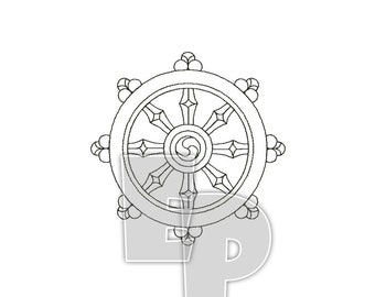 Dharma Whee,l Dharmacakra, Spiritual, Religious, Sacred Symbol, symbols, buddhist embroidery, Machine Embroidery, Pattern, Design