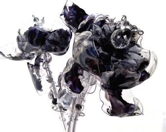 Black Wedding Flowers, Unique Wedding Decor, Goth Wedding, Plastic Bottle Art, 3 Black Silver Flowers, Unique Home Decor, Black & White Goth