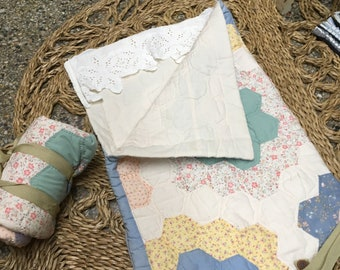 Quilted Doll Sleeping Bag - handmade so dolls can camp out too! Upcycled toys make the perfect gift for little girls with classic taste!