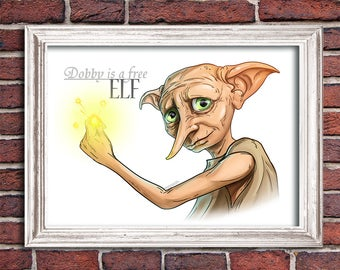 Dobby Free House Elf Portrait Digital Printable Harry Potter Poster File Download Wall Decor Art