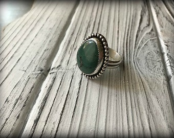 Green Kingman Turquoise Sterling Silver Ring - Size 9
