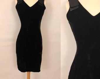 80s Vintage Black Velvet Party Dress