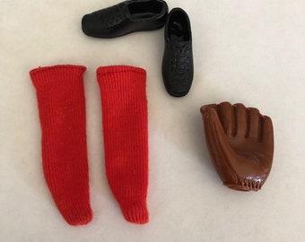 Vintage Barbie Ken Doll Baseball Cleats, Socks, and Glove 60s