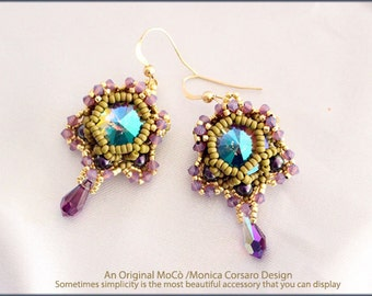 DIY Photo Tutorial Eng-ITA *Blossom*Earrings,PDF Pattern 96 with Rivoli,swarovski,Triangle,pearls,seed beads,instructions,beadweaving