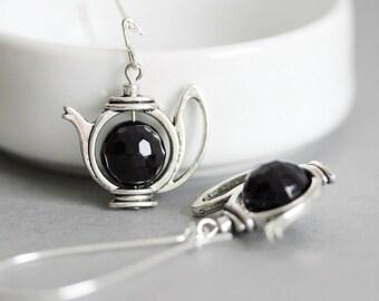 Mother's Day Gift Teapot Earrings Black Teapot Earrings Dangle Black Beaded Earrings Teapot Jewelry Tea Earring Teapot Gift for Tea lovers