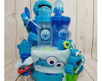 Cookie Monster Diaper Cake| Cookie Monster Baby Gift| Sesame Street Diaper Cake| Seasame Street Baby Gift| Baby Shower Gift| Diaper Cakes