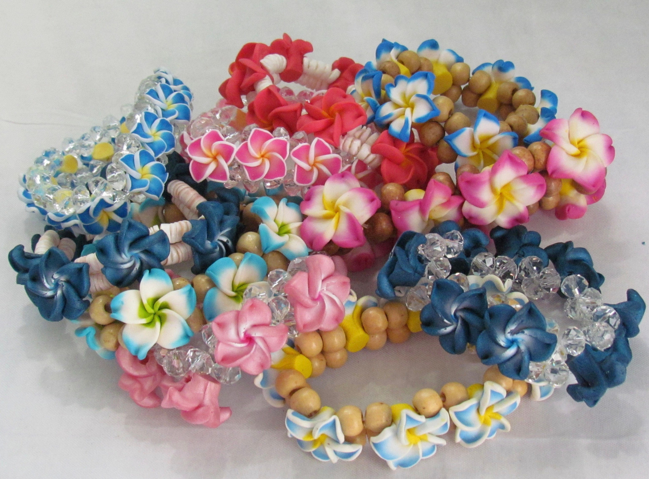 hawaii sparkle plumeria blue with anklet cz in