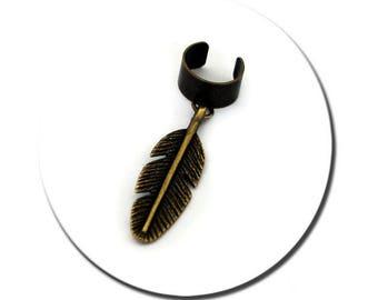 Feather Brass EarCuff Boho Hippie