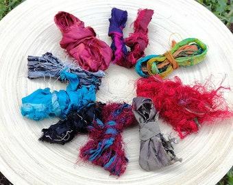 Recycled Sari Silk Ribbons Variety - 10 colours