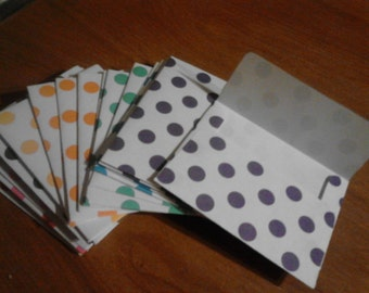 10 Handmade Envelope Trios, White with Polka Dots