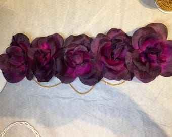 Purple Floral Headband with Gold Chains