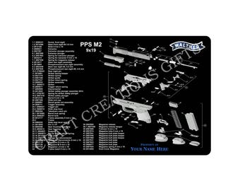 Gun Cleaning Mat Walther Arms PPS Classic M2 9mm .40 S&W Maintenance Range Firearm Pistol
