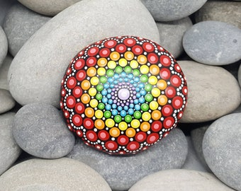 Chakra Rainbow Mandala Stone - Painted Rock - Rock Art - Hand-Painted Meditation Mandala Rock - Home Decor - Mandala Art - Boho - Paint Rock