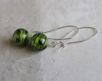 Green Drop Earrings, Green Lampwork Bead Drop Earrings, Green Sterling Silver Drop Earrings, Silver Kidney Wire Green Boho Drop Earrings