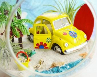 """Beach Terrarium Kit with Love Bug ~ 7"""" Air Plant Terrarium Kit ~ Coastal Living Beach Decor ~ Palm Trees ~ VW Beetle Yellow or Red Car ~Gift"""