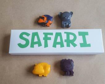 Safari Crayons ~ Set of Four ~ Animal Crayons ~ Rainbow Crayons ~ Zoo Animals ~ Kids Gift ~ Novelty Crayons ~ Crayon Set ~ Party Favors