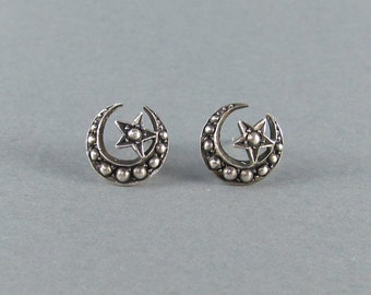 HANDMADE crescent moon and star stud earrings, unique detailed sterling silver earrings, antique Victorian style jewelry, witchy goth.