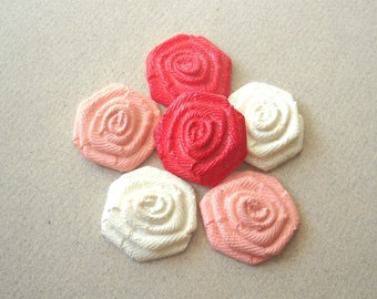 Soft Plastic Flower Cabochons, Vintage Red pink White Rose Cabochon Flat Bottom Embellishment Scrapebooking Supplies