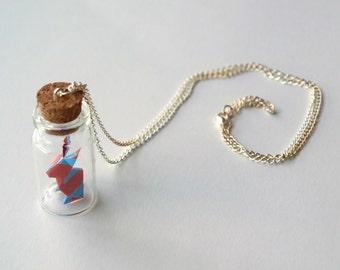 Personalized necklace - Little origami rabbit bottle