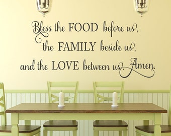 Kitchen Wall Decal Bless the Food before us Decal Kitchen Wall Quote Dining Room Decal Religious Wall Decal Kitchen Wall Decor