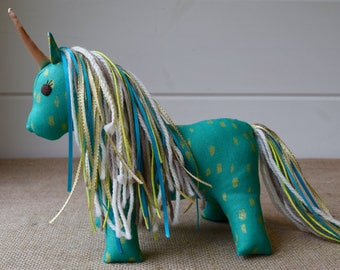 Teal and Gold Plush Unicorn - Handmade Stuffed Animal Unicorn - Unicorn Stuffie