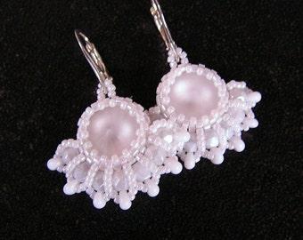 """Bead woven earrings """"Frozen"""". Beadwoven earrings with Swarovski crystals. Beaded earrings. Bead weaving. Netting earrings."""
