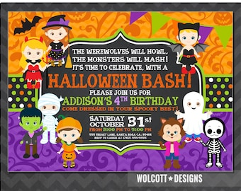 Girls Halloween Party Invitation, Kids Halloween Party Invitation, Costume Party Invitation, Halloween Birthday Party Invitations