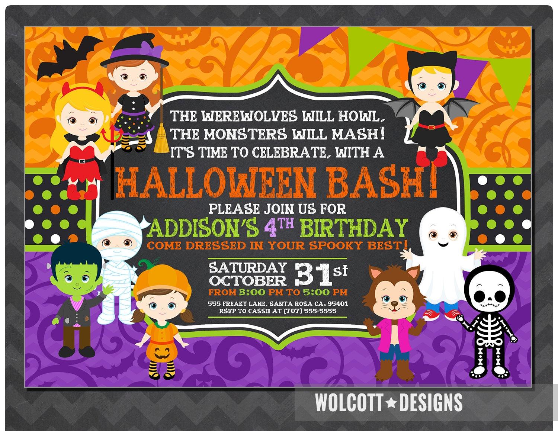 Girls Halloween Party Invitation Kids Halloween Party