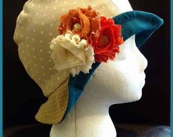Tressa ~ Handcrafted from recycled clothing, Cloche, Flapper Style, Chemo Hats