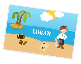 Pirate Personalized Placemat - Pirate Boy Blue Sea Island with Name, Customized Laminated Placemat