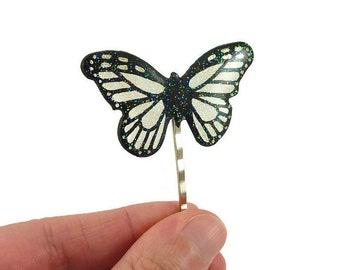 Epingle à cheveux papillon transparent et noir à paillettes, barrette à cheveux féérique éco-responsable en plastique peint (CD recyclé)