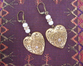 Antique Gold Hearts Dangle Earrings Pearls Rhinestone Rondelles