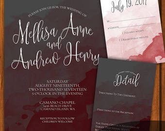 Wedding Invitation Suite / Gray and Maroon Suite / Brush Stroke Invitation / Wedding Invitaiton Set